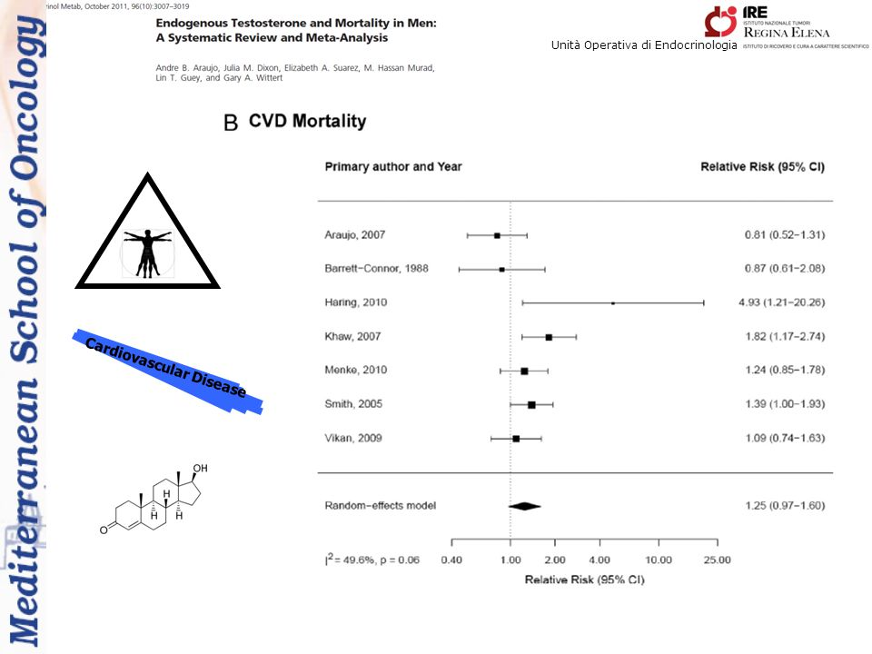 Unità Operativa di Endocrinologia Cardiovascular Disease The current systematic review and metanalysis has shown that low endogenous testosterone levels are associated with both all-cause and CVD mortality.