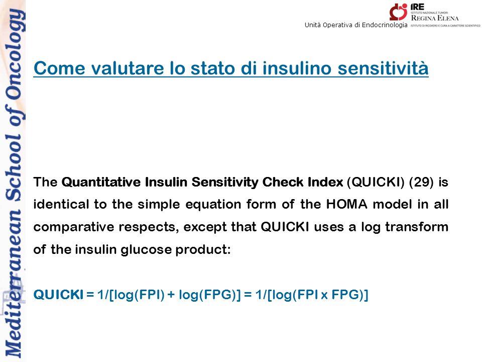 Unità Operativa di Endocrinologia Come valutare lo stato di insulino sensitività The Quantitative Insulin Sensitivity Check Index (QUICKI) (29) is identical to the simple equation form of the HOMA model in all comparative respects, except that QUICKI uses a log transform of the insulin glucose product: QUICKI = 1/[log(FPI) + log(FPG)] = 1/[log(FPI x FPG)]