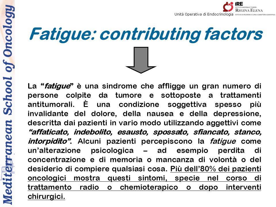 Unità Operativa di Endocrinologia La fatigue è una sindrome che affligge un gran numero di persone colpite da tumore e sottoposte a trattamenti antitumorali.