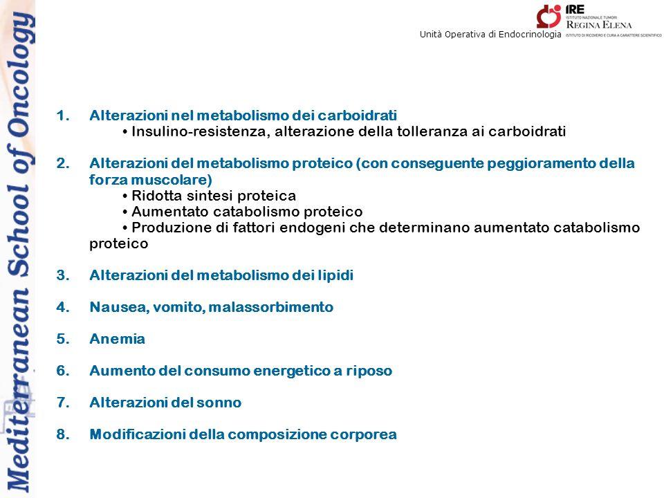 Unità Operativa di Endocrinologia 1.Alterazioni nel metabolismo dei carboidrati Insulino-resistenza, alterazione della tolleranza ai carboidrati 2.Alt