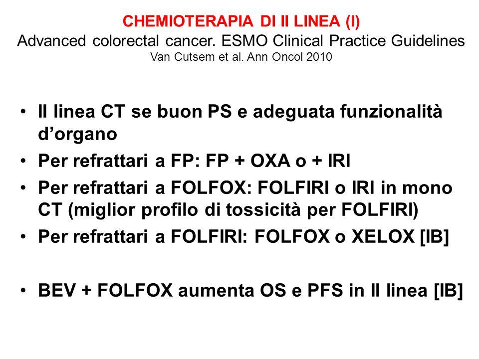 II linea CT se buon PS e adeguata funzionalità dorgano Per refrattari a FP: FP + OXA o + IRI Per refrattari a FOLFOX: FOLFIRI o IRI in mono CT (miglior profilo di tossicità per FOLFIRI) Per refrattari a FOLFIRI: FOLFOX o XELOX [IB] BEV + FOLFOX aumenta OS e PFS in II Iinea [IB] CHEMIOTERAPIA DI II LINEA (I) Advanced colorectal cancer.