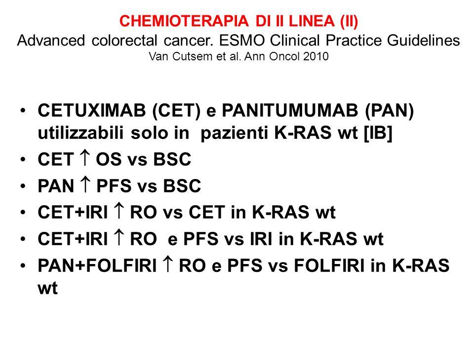 CETUXIMAB (CET) e PANITUMUMAB (PAN) utilizzabili solo in pazienti K-RAS wt [IB] CET OS vs BSC PAN PFS vs BSC CET+IRI RO vs CET in K-RAS wt CET+IRI RO e PFS vs IRI in K-RAS wt PAN+FOLFIRI RO e PFS vs FOLFIRI in K-RAS wt CHEMIOTERAPIA DI II LINEA (II) Advanced colorectal cancer.
