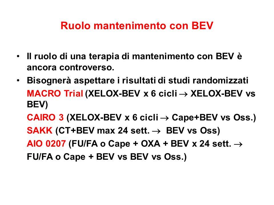 Ruolo mantenimento con BEV Il ruolo di una terapia di mantenimento con BEV è ancora controverso. Bisognerà aspettare i risultati di studi randomizzati