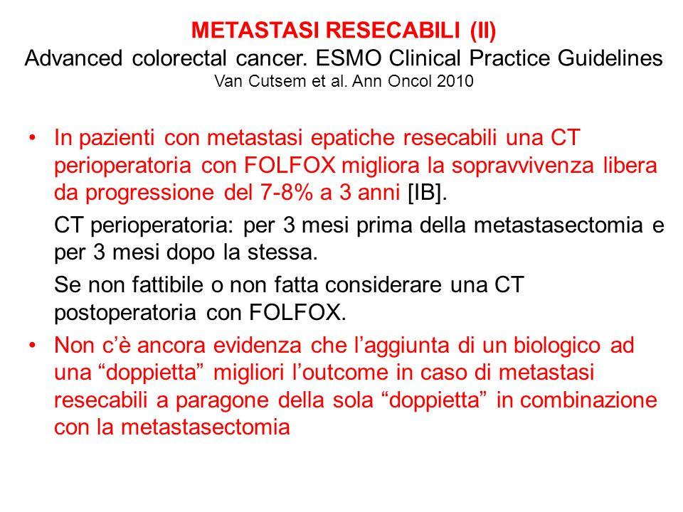 II televotazione Metastasi sincrone epatiche e/o polmonari non-resecabili EGFR+ KRAS wild type 1.De Gramont o capecitabina 2.Una doppietta (FOLFIRI o FOLFOX o XELOX) 3.Una doppietta + bevacizumab 4.Una doppietta + cetuximab 5.Una tripletta (FOLFOXIRI) +/- biologico