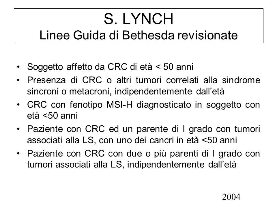 S. LYNCH Linee Guida di Bethesda revisionate Soggetto affetto da CRC di età < 50 anni Presenza di CRC o altri tumori correlati alla sindrome sincroni