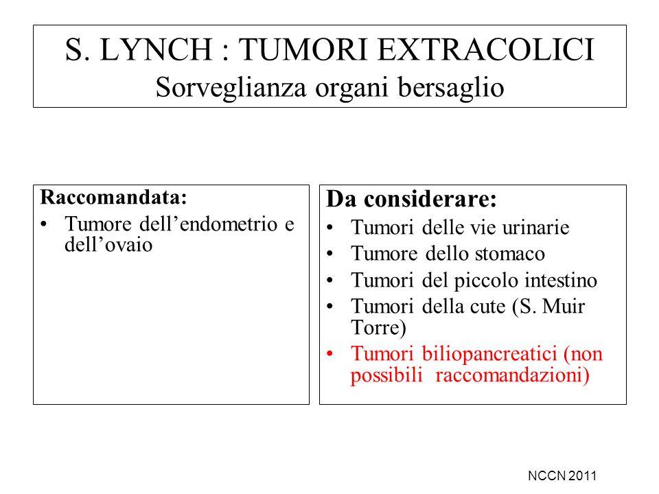 Raccomandata: Tumore dellendometrio e dellovaio Da considerare: Tumori delle vie urinarie Tumore dello stomaco Tumori del piccolo intestino Tumori del