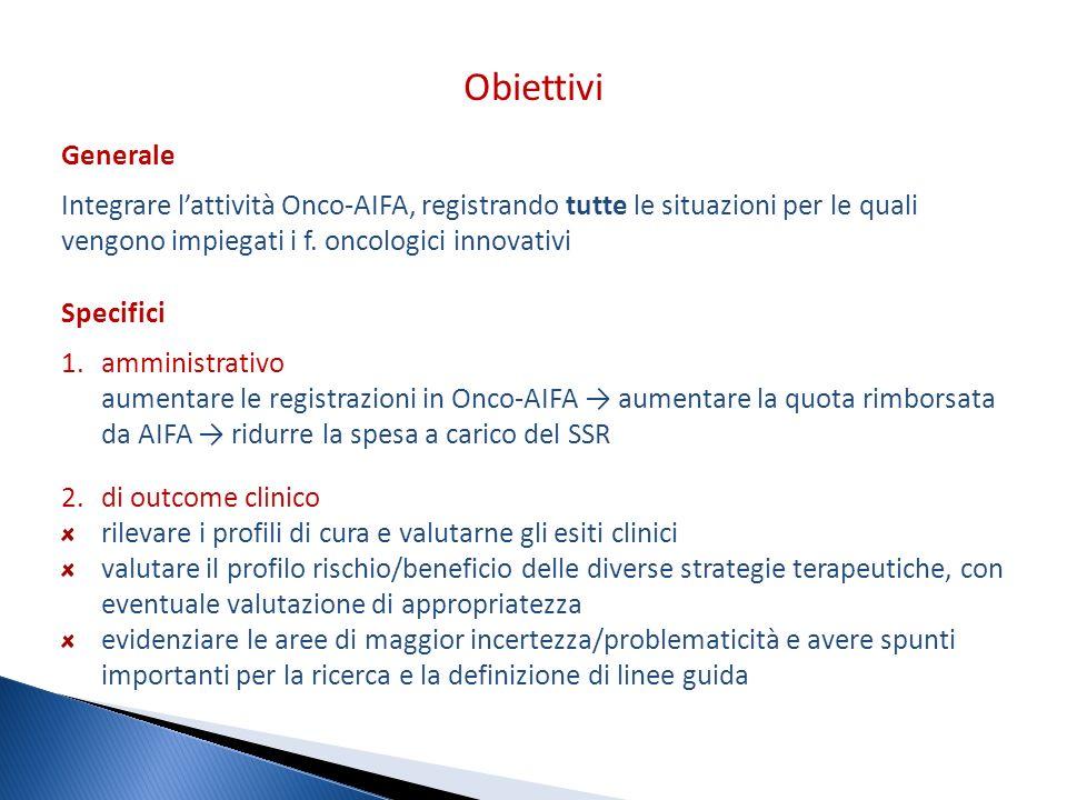 Generale Integrare lattività Onco-AIFA, registrando tutte le situazioni per le quali vengono impiegati i f. oncologici innovativi Specifici 1.amminist