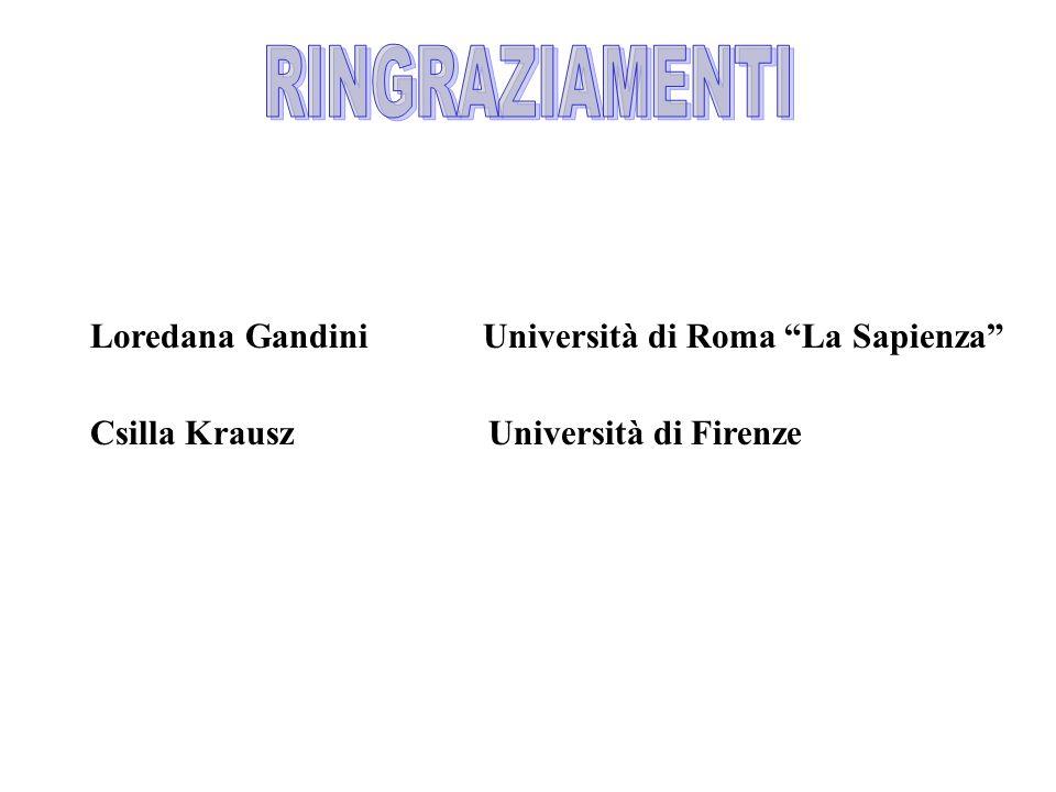 Csilla Krausz Università di Firenze Loredana Gandini Università di Roma La Sapienza