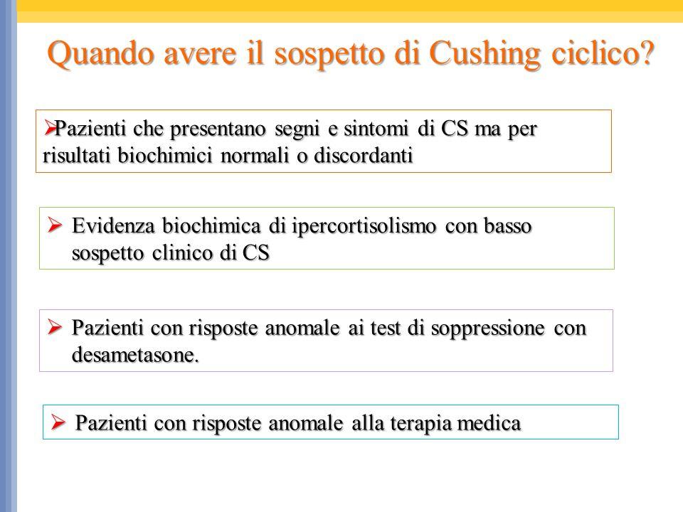Quando avere il sospetto di Cushing ciclico? Pazienti che presentano segni e sintomi di CS ma per risultati biochimici normali o discordanti Pazienti