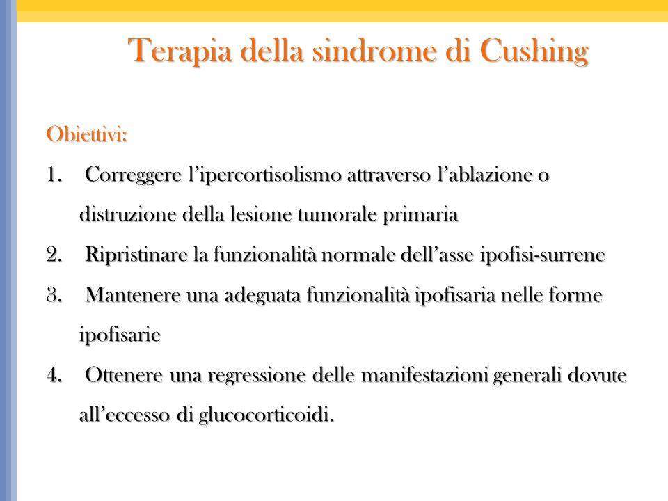 Terapia della sindrome di Cushing Terapia della sindrome di Cushing Obiettivi: 1. Correggere lipercortisolismo attraverso lablazione o distruzione del