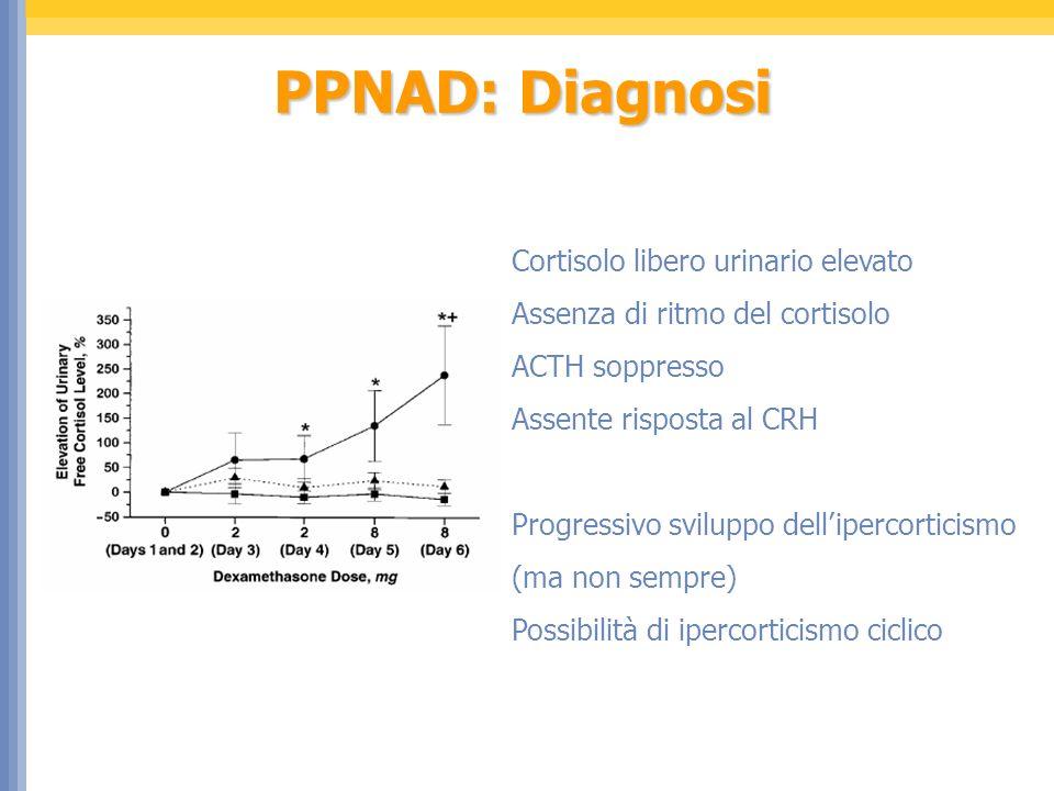 PPNAD: Diagnosi Cortisolo libero urinario elevato Assenza di ritmo del cortisolo ACTH soppresso Assente risposta al CRH Progressivo sviluppo delliperc