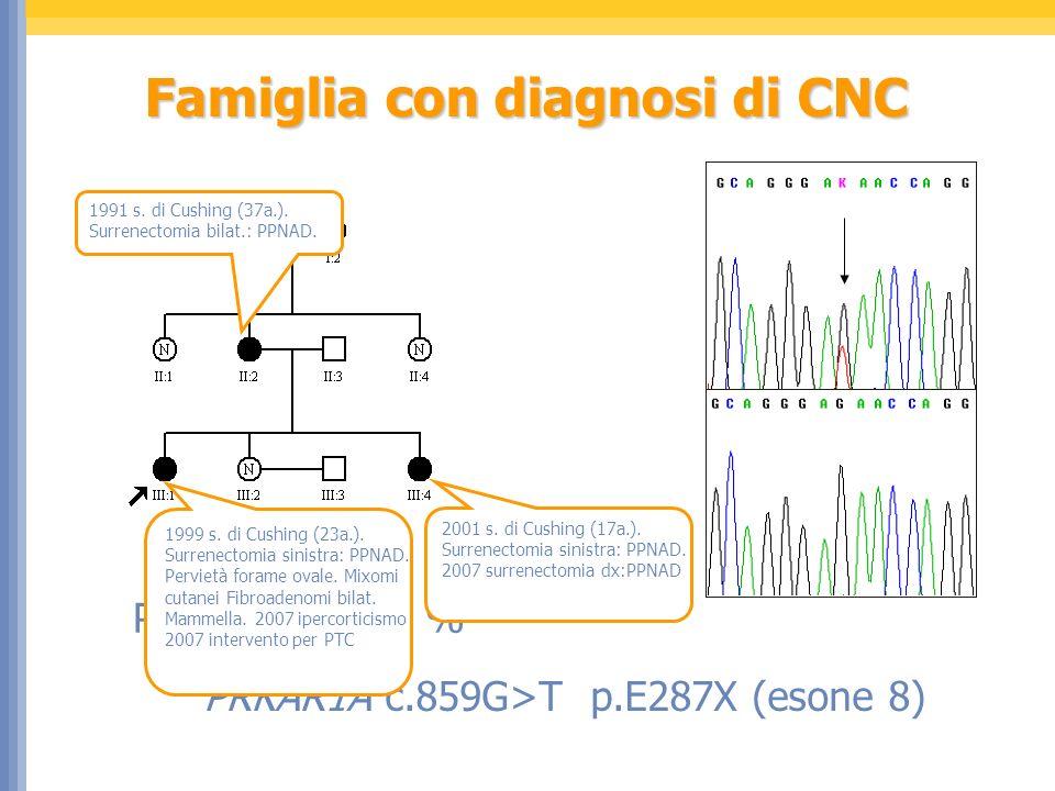 Famiglia con diagnosi di CNC Penetranza 100 % PRKAR1A c.859G>T p.E287X (esone 8) 1999 s. di Cushing (23a.). Surrenectomia sinistra: PPNAD. Pervietà fo
