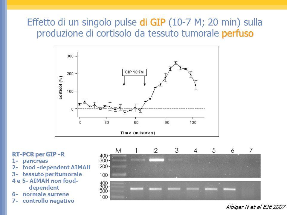 di GIP perfuso Effetto di un singolo pulse di GIP (10-7 M; 20 min) sulla produzione di cortisolo da tessuto tumorale perfuso RT-PCR per GIP -R 1- pancreas 2- food -dependent AIMAH 3- tessuto peritumorale 4 e 5- AIMAH non food- dependent 6- normale surrene 7- controllo negativo Albiger N et al EJE 2007