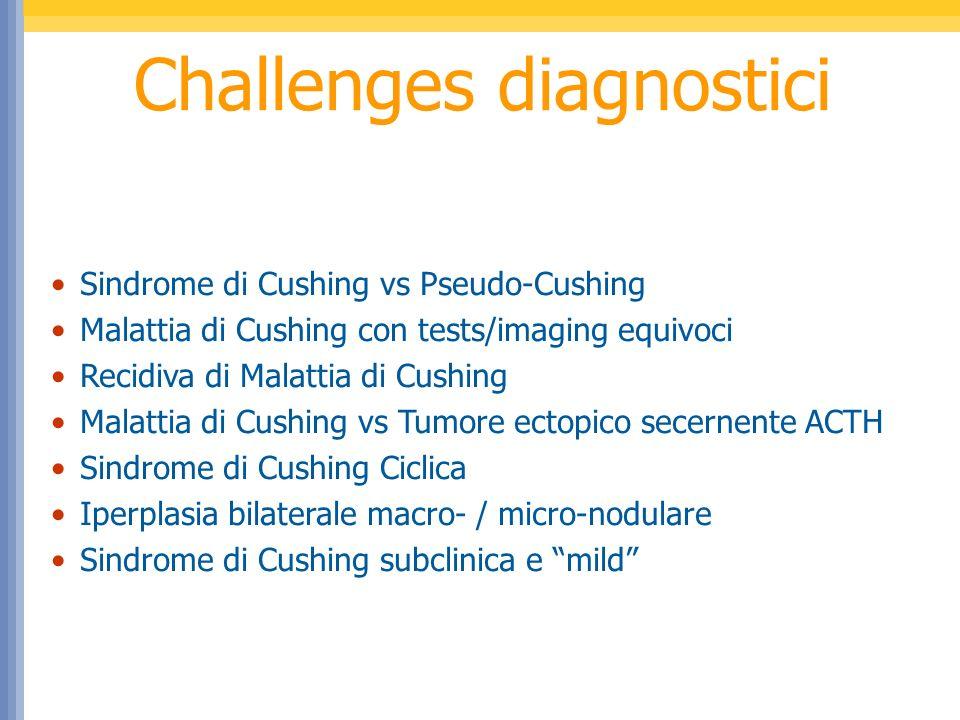 Sindrome di Cushing Sindrome di Cushing ACTH indipendente (15-20%) 60% adenoma surrenalico 30% carcinoma surrenalico ACTH dipendente (80-85%) 80% adenoma ipofisario 20% produzione ectopica di ACTH 10% iperplasia surrenalica