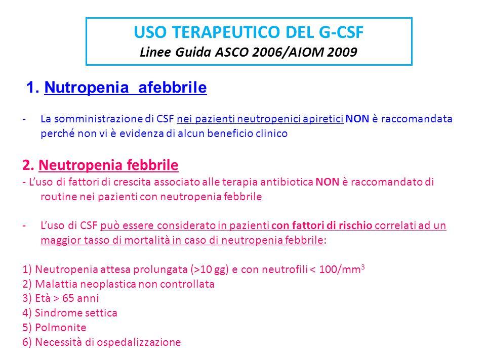 USO TERAPEUTICO DEL G-CSF Linee Guida ASCO 2006/AIOM 2009 -La somministrazione di CSF nei pazienti neutropenici apiretici NON è raccomandata perché no