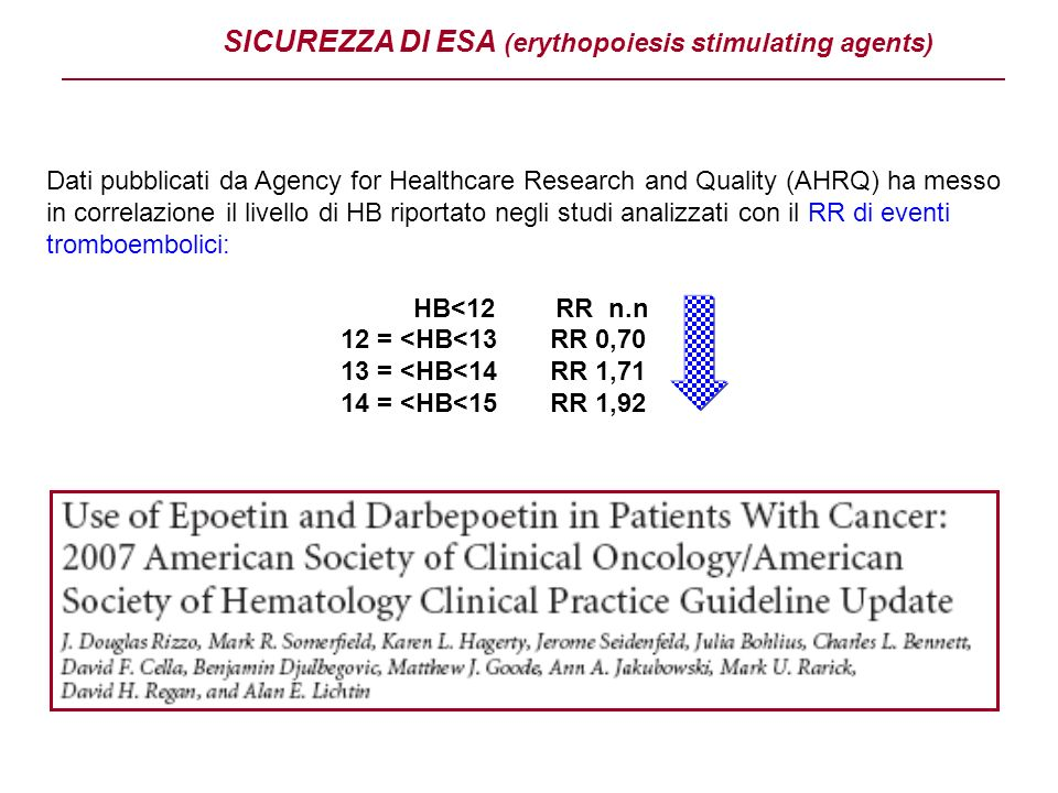 SICUREZZA DI ESA (erythopoiesis stimulating agents) Dati pubblicati da Agency for Healthcare Research and Quality (AHRQ) ha messo in correlazione il l