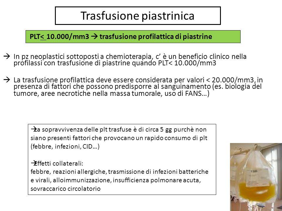 Trasfusione piastrinica In pz neoplastici sottoposti a chemioterapia, c è un beneficio clinico nella profilassi con trasfusione di piastrine quando PL