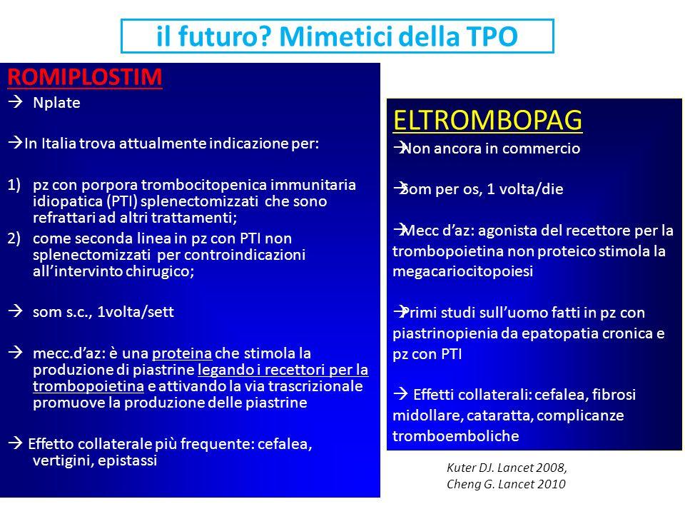il futuro? Mimetici della TPO ROMIPLOSTIM Nplate In Italia trova attualmente indicazione per: 1)pz con porpora trombocitopenica immunitaria idiopatica