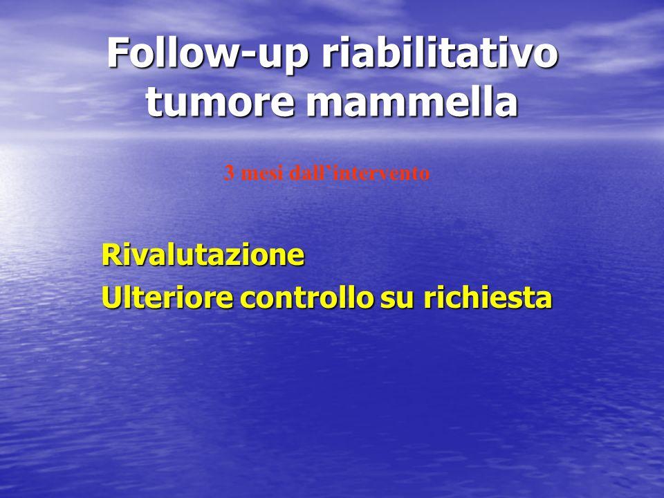 Follow-up riabilitativo tumore mammella Rivalutazione Ulteriore controllo su richiesta 3 mesi dallintervento
