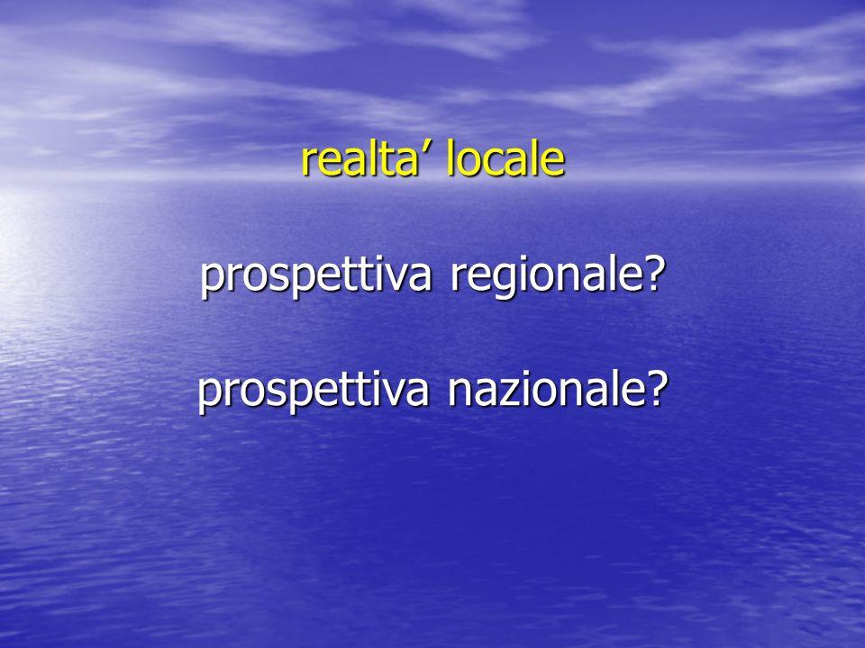 realta locale prospettiva regionale? prospettiva nazionale?