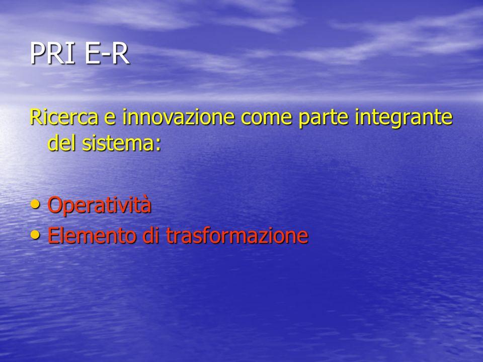 PRI E-R Ricerca e innovazione come parte integrante del sistema: Operatività Operatività Elemento di trasformazione Elemento di trasformazione