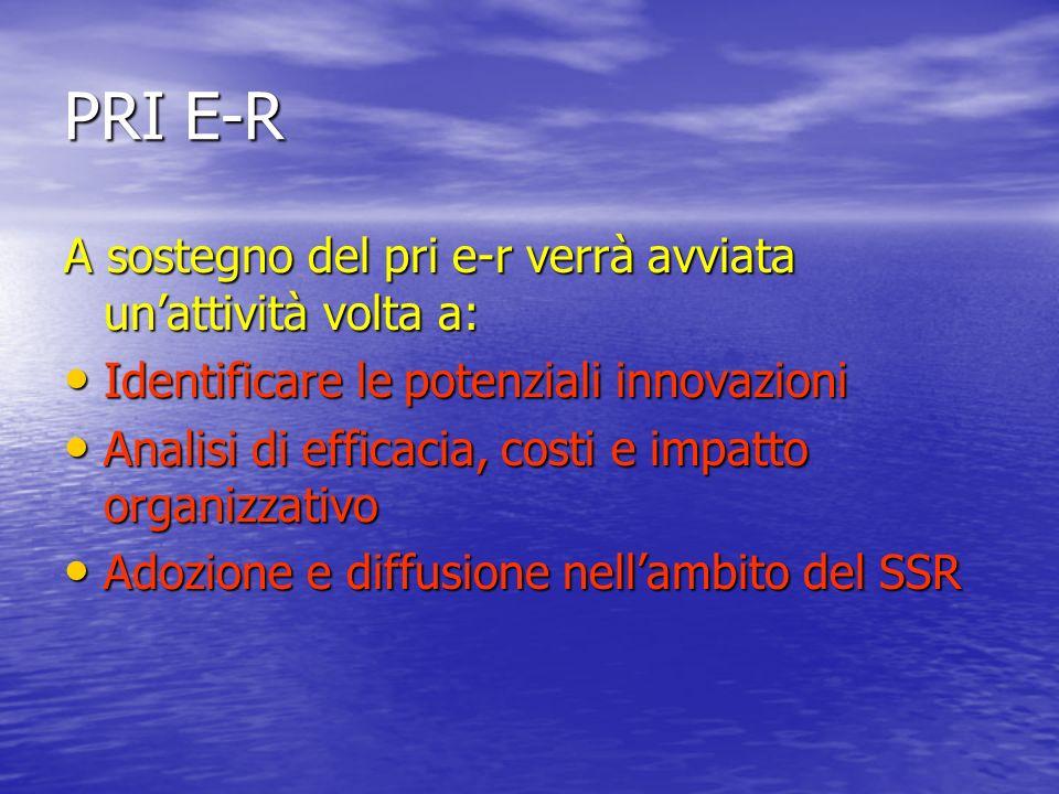 PRI E-R A sostegno del pri e-r verrà avviata unattività volta a: Identificare le potenziali innovazioni Identificare le potenziali innovazioni Analisi