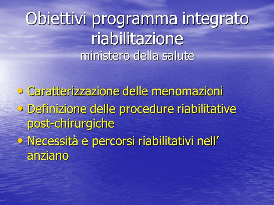 Obiettivi programma integrato riabilitazione ministero della salute Caratterizzazione delle menomazioni Caratterizzazione delle menomazioni Definizion