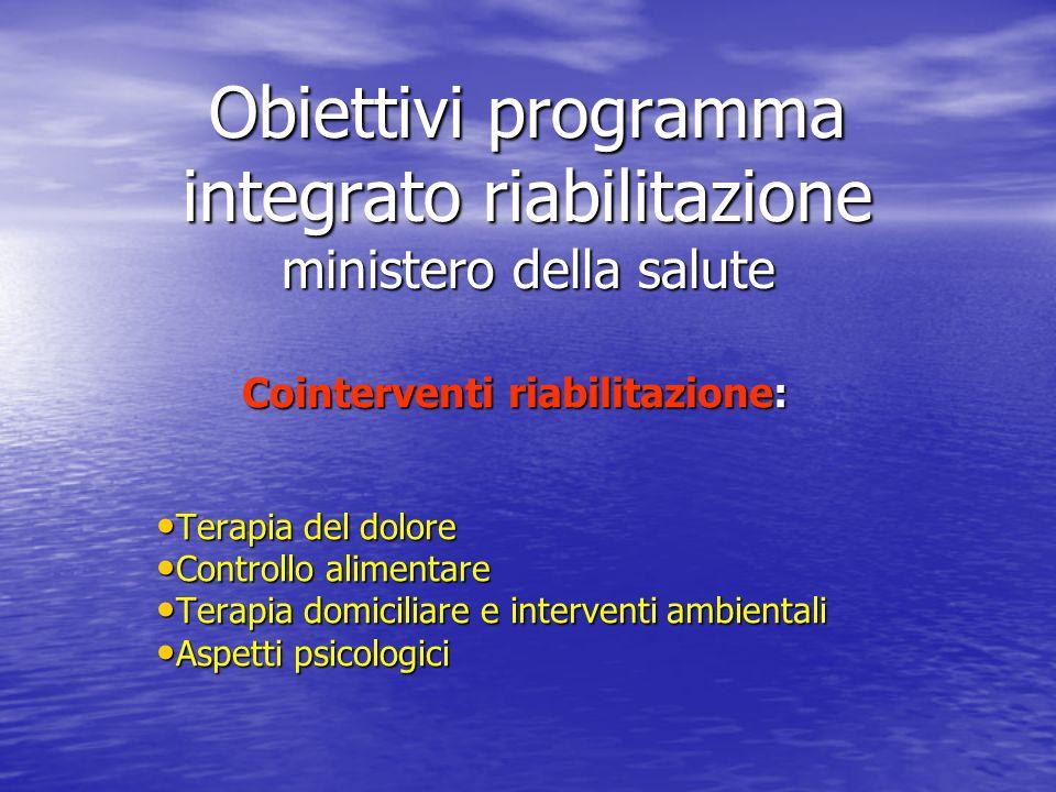 Obiettivi programma integrato riabilitazione ministero della salute Cointerventi riabilitazione: Terapia del dolore Terapia del dolore Controllo alime