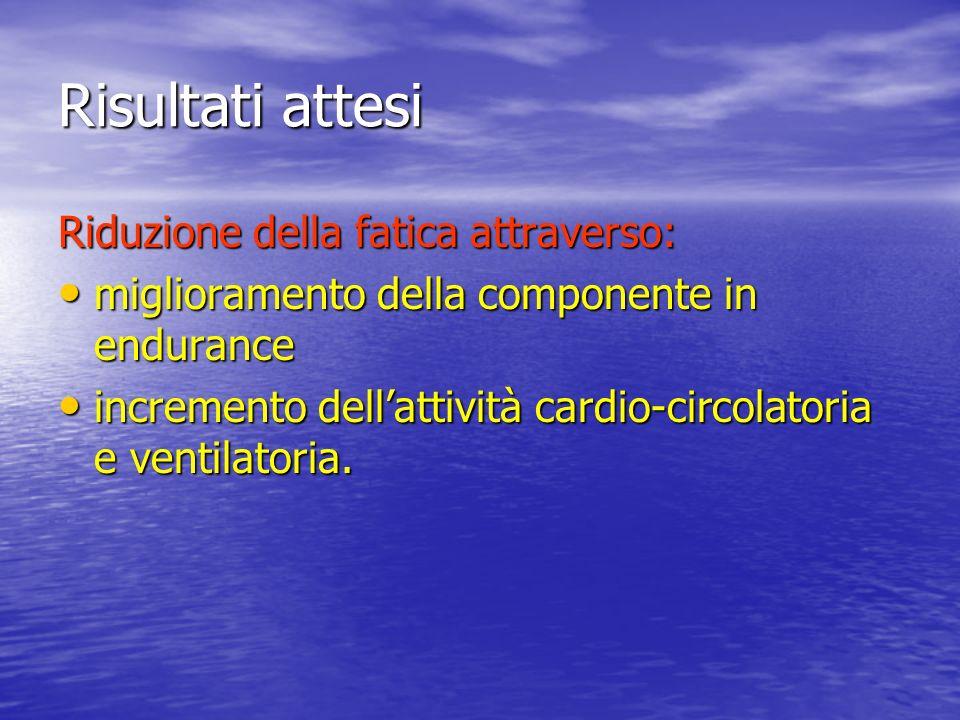 Risultati attesi Riduzione della fatica attraverso: miglioramento della componente in endurance miglioramento della componente in endurance incremento