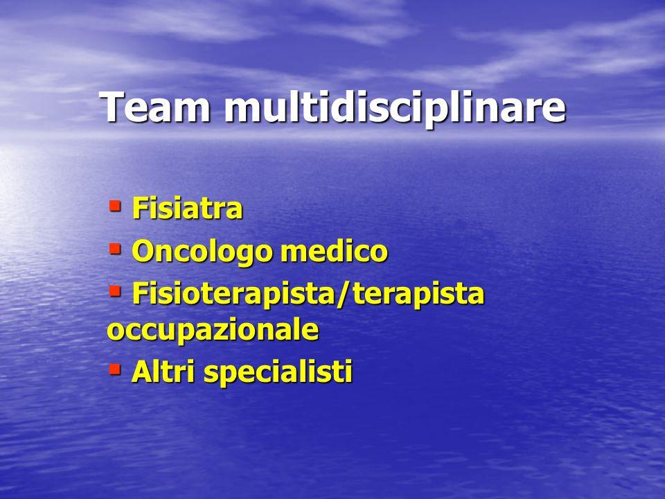 Team multidisciplinare Fisiatra Fisiatra Oncologo medico Oncologo medico Fisioterapista/terapista occupazionale Fisioterapista/terapista occupazionale