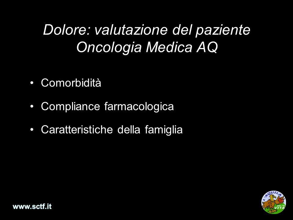 Dolore: valutazione del paziente Oncologia Medica AQ Comorbidità Compliance farmacologica Caratteristiche della famiglia