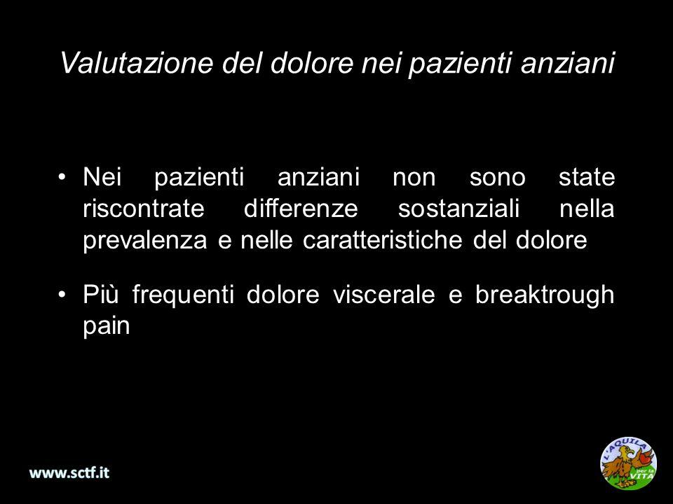 Valutazione del dolore nei pazienti anziani Nei pazienti anziani non sono state riscontrate differenze sostanziali nella prevalenza e nelle caratteristiche del dolore Più frequenti dolore viscerale e breaktrough pain