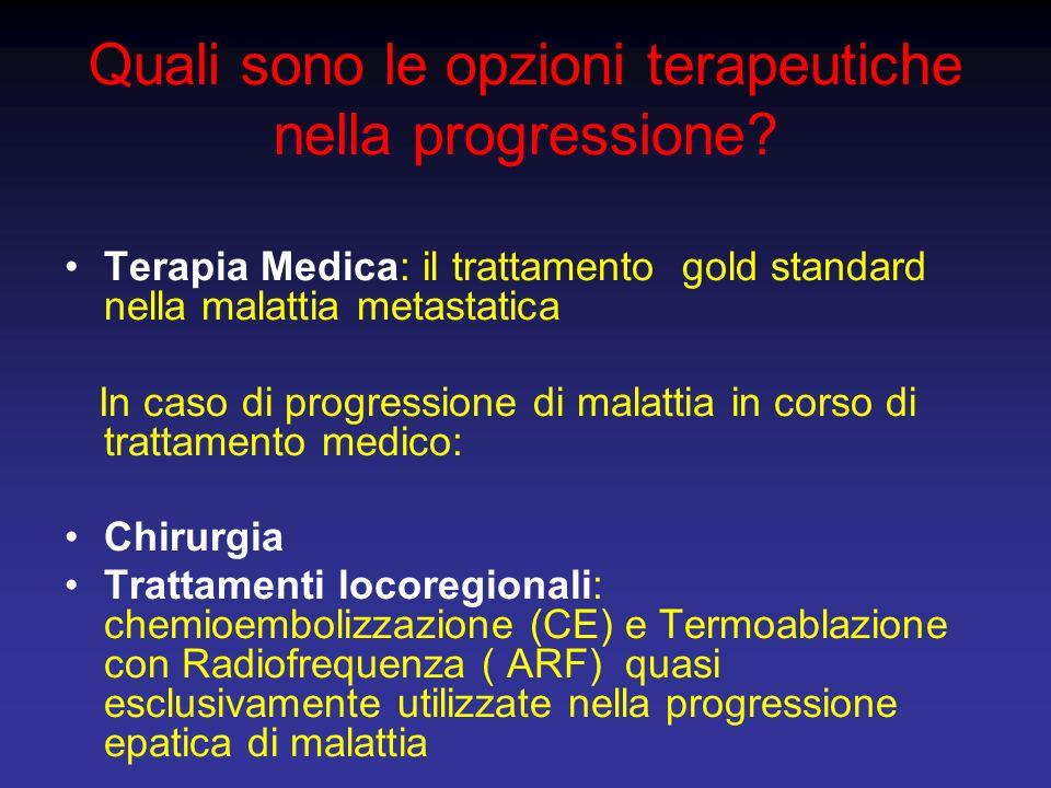 Quali sono le opzioni terapeutiche nella progressione? Terapia Medica: il trattamento gold standard nella malattia metastatica In caso di progressione