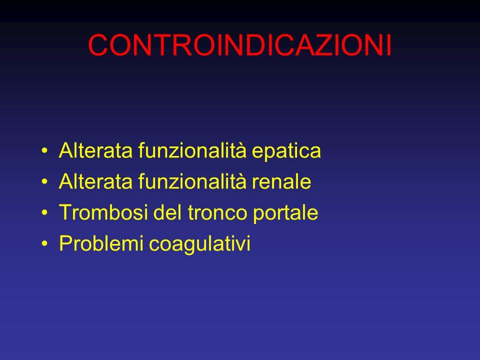 CONTROINDICAZIONI Alterata funzionalità epatica Alterata funzionalità renale Trombosi del tronco portale Problemi coagulativi