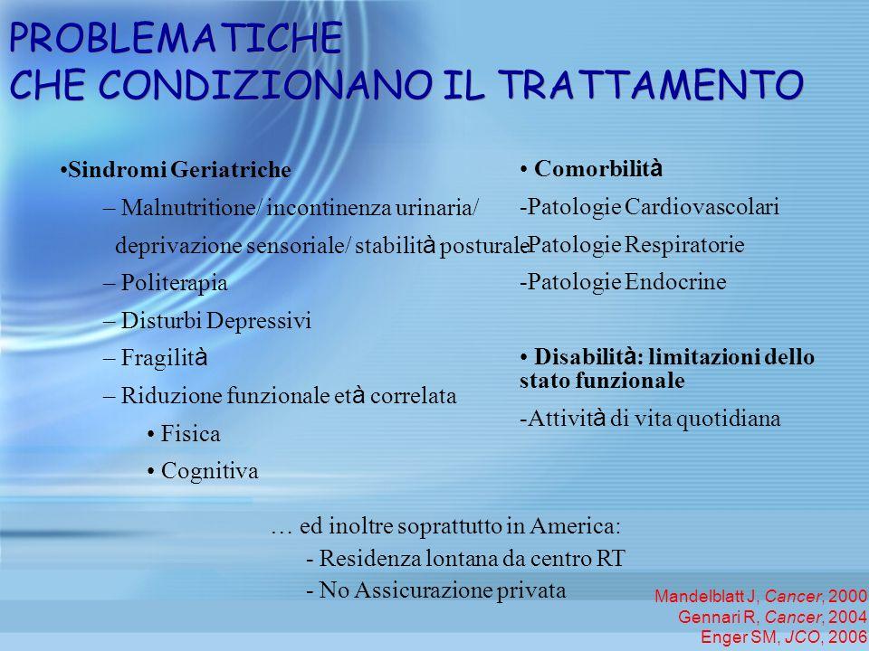 PROBLEMATICHE CHE CONDIZIONANO IL TRATTAMENTO Sindromi Geriatriche – Malnutritione/ incontinenza urinaria/ deprivazione sensoriale/ stabilit à postura