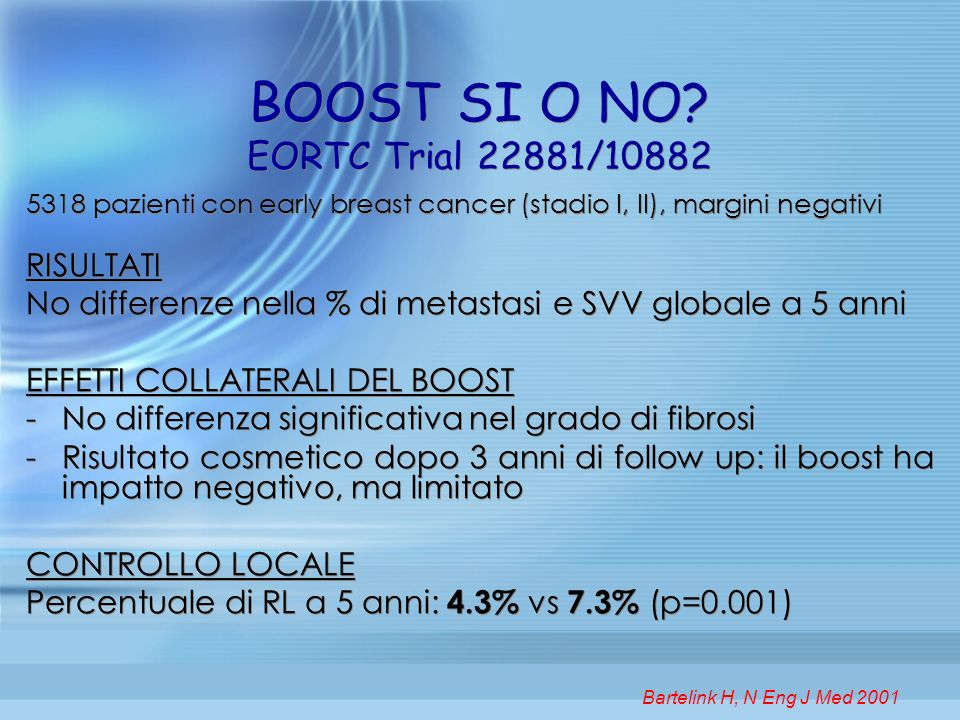 BOOST SI O NO? EORTC Trial 22881/10882 5318 pazienti con early breast cancer (stadio I, II), margini negativi RISULTATI No differenze nella % di metas