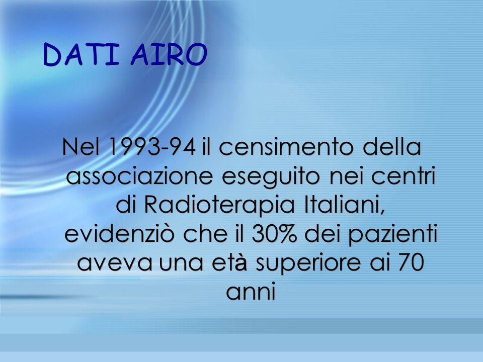 DATI AIRO Nel 1993-94 il censimento della associazione eseguito nei centri di Radioterapia Italiani, evidenziò che il 30% dei pazienti aveva una et à