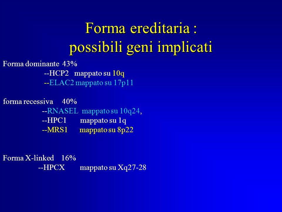 Frequenza : 15% di uomini tumore altamente eterogeneo forma sporadica : 1 : 8 uomini insorgenza tardiva >71y forma ereditaria : insorgenza precoce <60