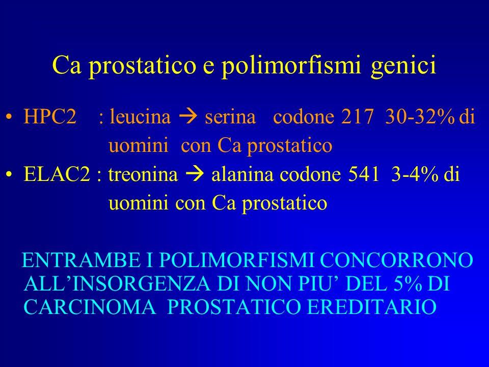 CANCRO PROSTATICO : altri geni implicati IL BRCA2 SI TROVA SU 13q12-13 E LUNICO GENE AL MOMENTO IMPLICATO NELLINSORGENZA DEL CANCRO DELLA PROSTATA --<