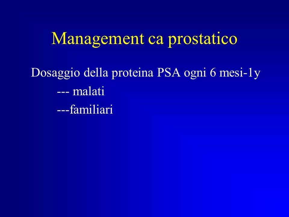 ELEGGIBILITA AL TEST PER IL CARCINOMA PROSTATICO Carcinoma prostatico ad insorgenza precoce ( < 60 anni) presenza di almeno due familiari affetti