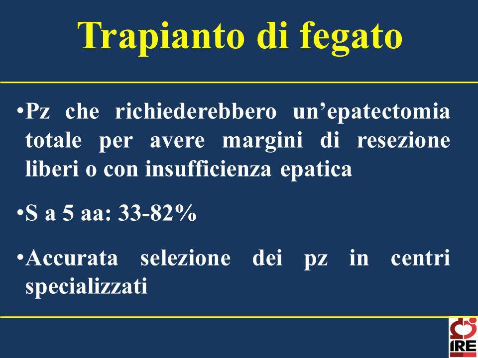 Pz che richiederebbero unepatectomia totale per avere margini di resezione liberi o con insufficienza epatica S a 5 aa: 33-82% Accurata selezione dei
