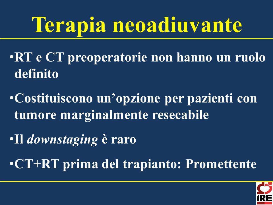 RT e CT preoperatorie non hanno un ruolo definito Costituiscono unopzione per pazienti con tumore marginalmente resecabile Il downstaging è raro CT+RT