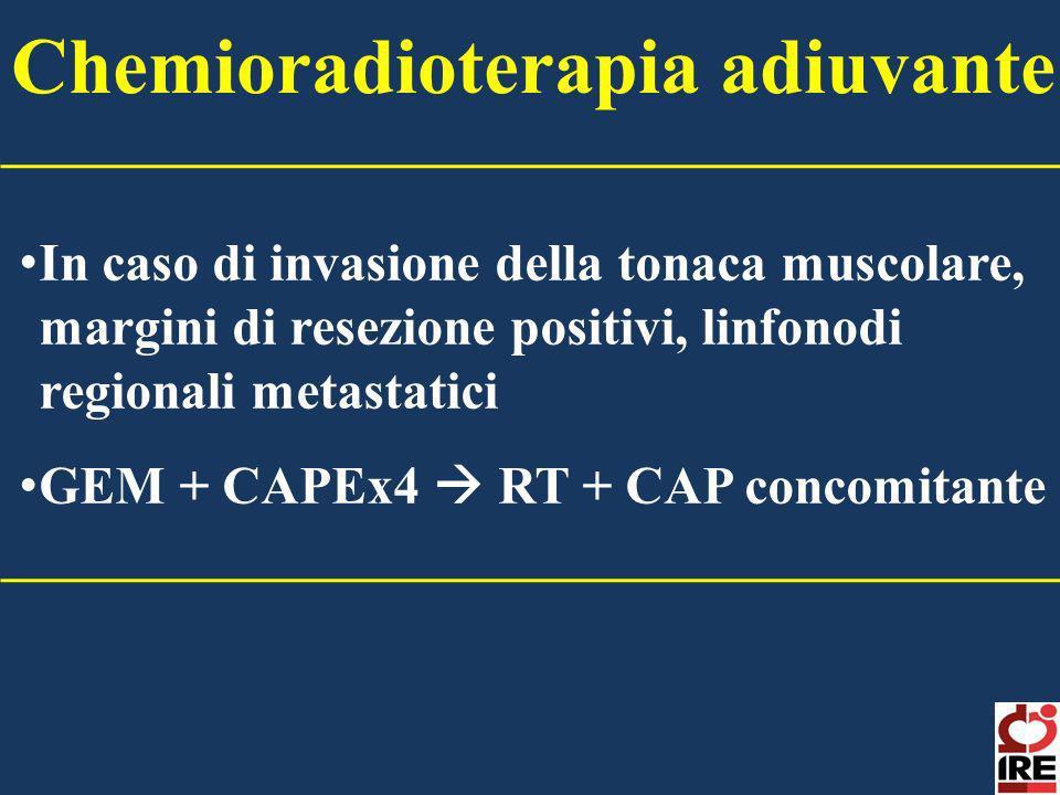 In caso di invasione della tonaca muscolare, margini di resezione positivi, linfonodi regionali metastatici GEM + CAPEx4 RT + CAP concomitante Chemior
