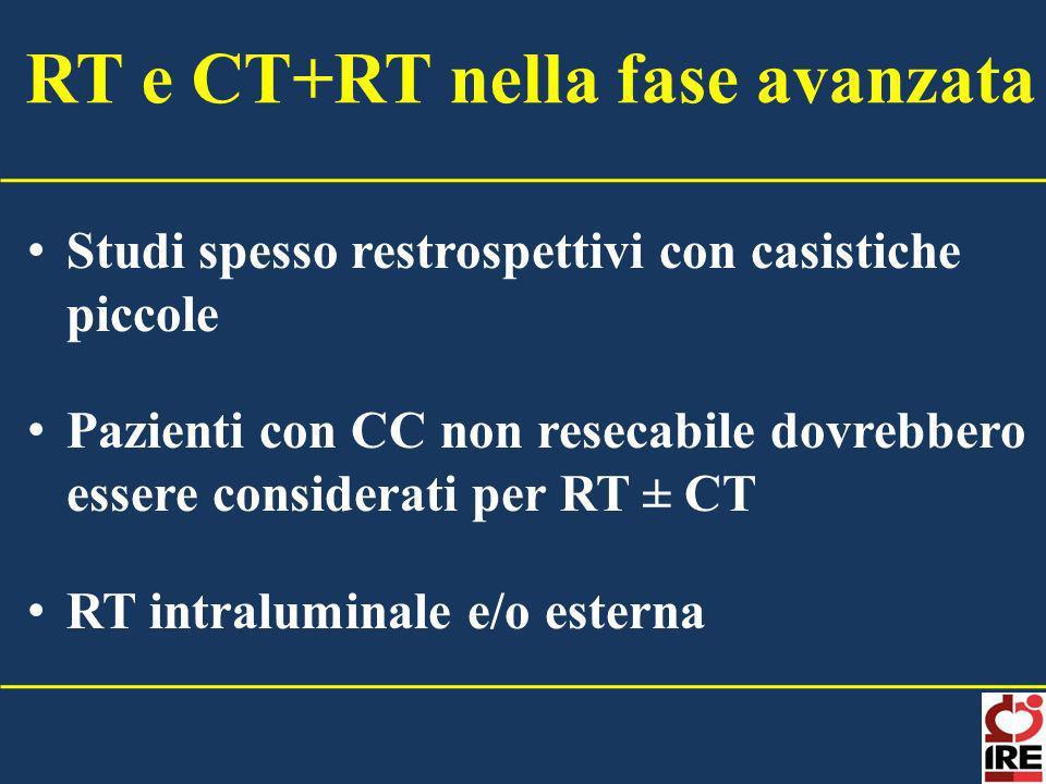 Studi spesso restrospettivi con casistiche piccole Pazienti con CC non resecabile dovrebbero essere considerati per RT ± CT RT intraluminale e/o ester