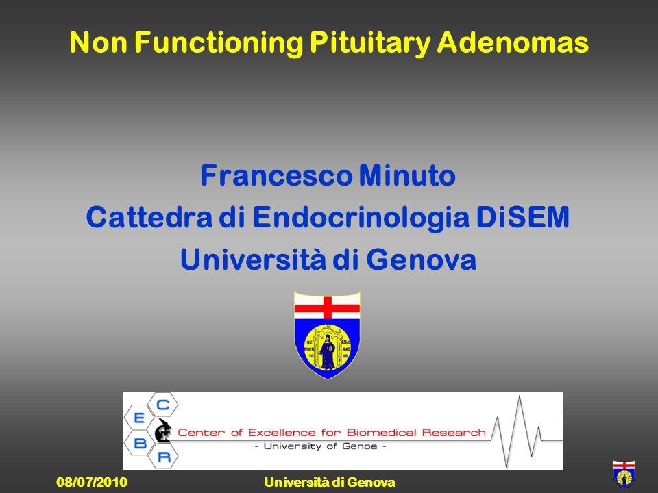 Non Functioning Pituitary Adenomas Francesco Minuto Cattedra di Endocrinologia DiSEM Università di Genova 08/07/2010Università di Genova