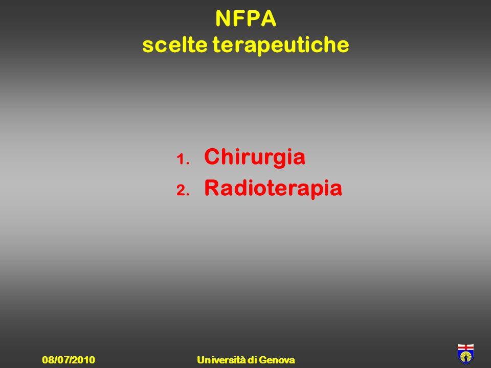 NFPA scelte terapeutiche 1. Chirurgia 2. Radioterapia 08/07/2010Università di Genova