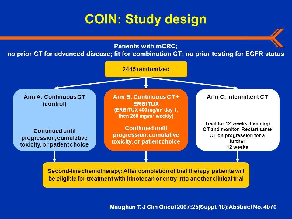 COIN: Study design Arm A: Continuous CT (control) Continued until progression, cumulative toxicity, or patient choice 2445 randomized Second-line chem