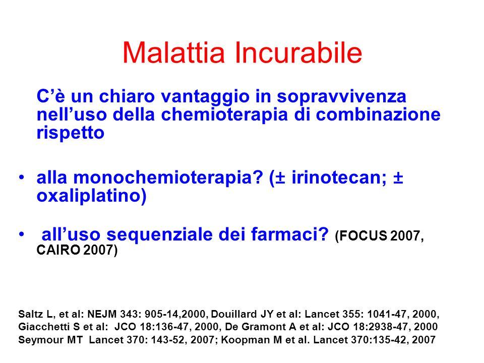 Malattia Incurabile Cè un chiaro vantaggio in sopravvivenza nelluso della chemioterapia di combinazione rispetto alla monochemioterapia? (± irinotecan