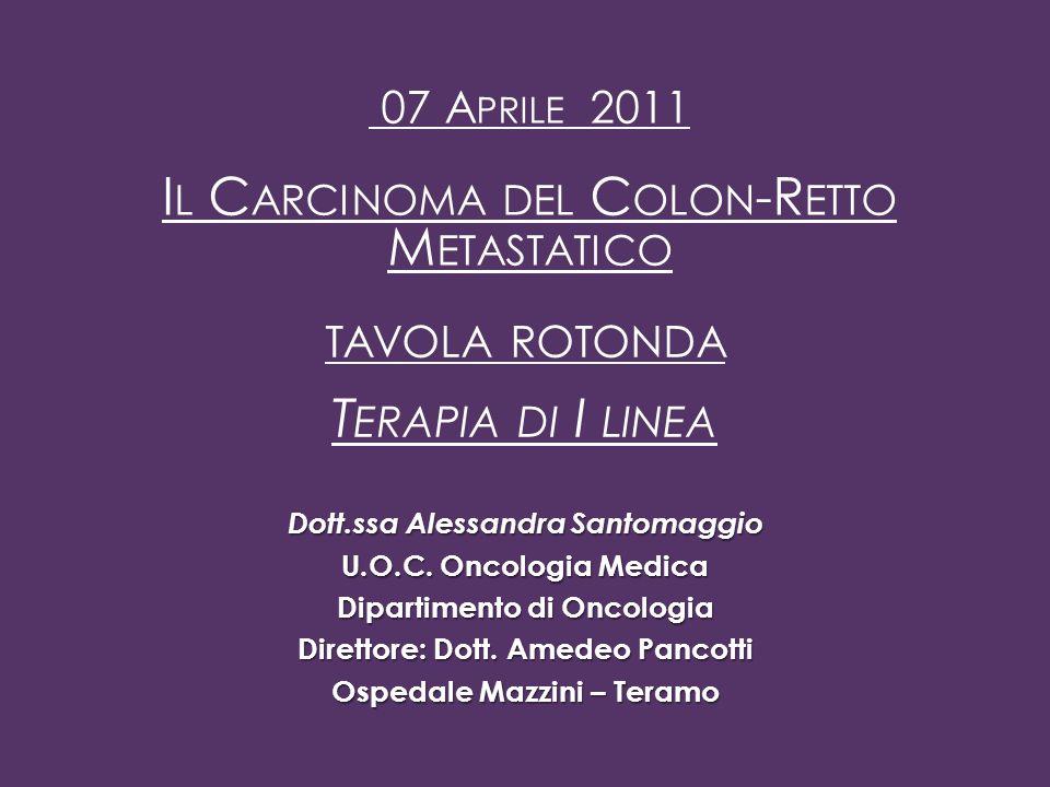Dott.ssa Alessandra Santomaggio U.O.C.Oncologia Medica Dipartimento di Oncologia Direttore: Dott.
