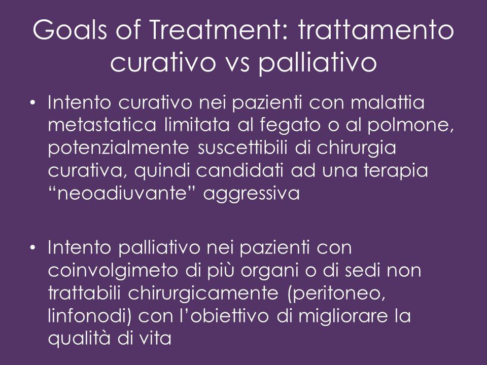 Goals of Treatment: trattamento curativo vs palliativo Intento curativo nei pazienti con malattia metastatica limitata al fegato o al polmone, potenzi